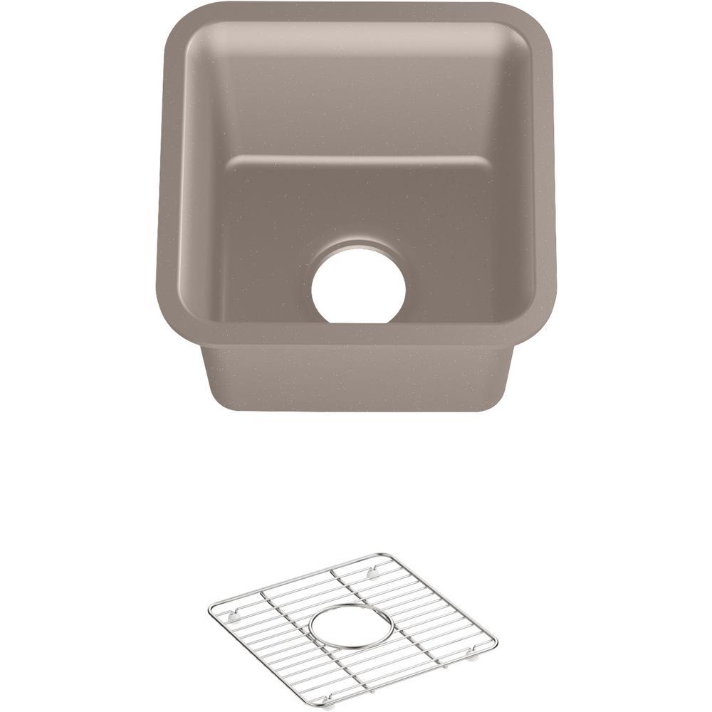 Cairn Neoroc Granite Composite 15.5 in. Single Bowl Undermount Bar Sink in Matte Taupe