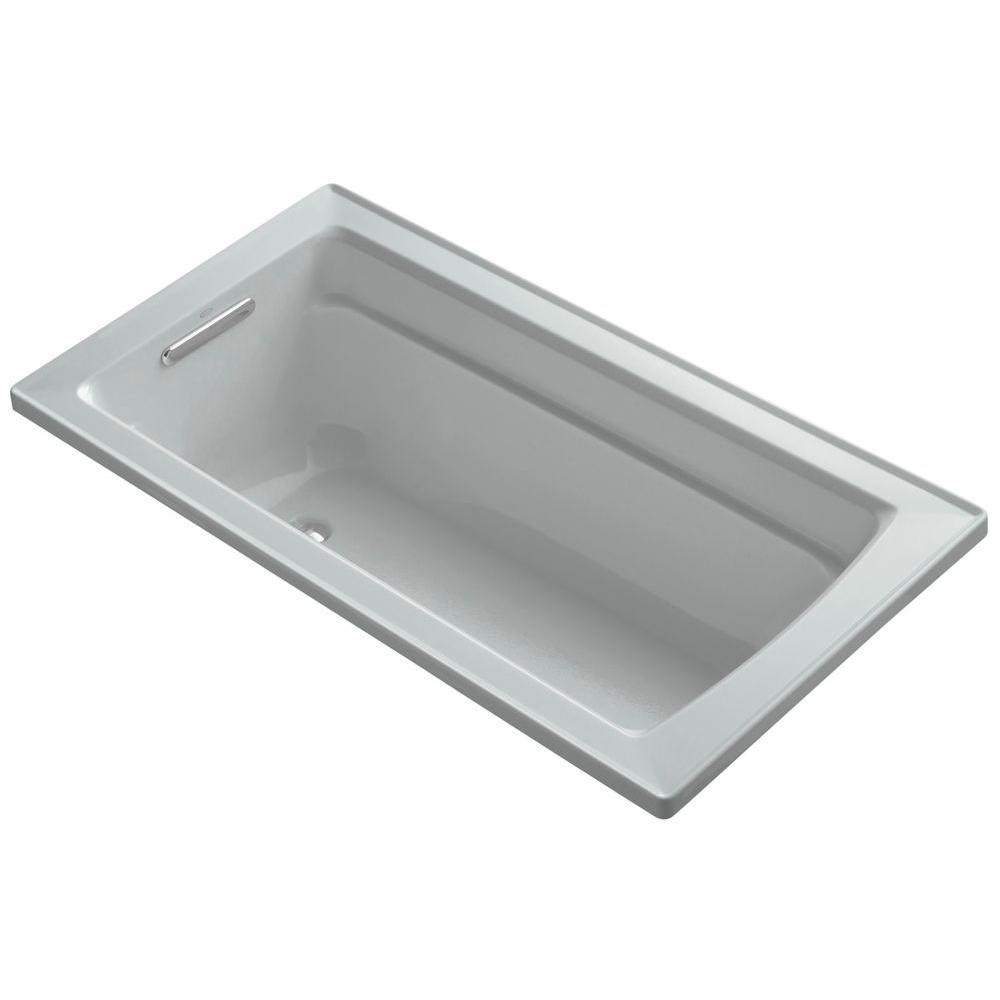 KOHLER Archer 5 ft. Reversible Drain Bathtub in Ice Grey