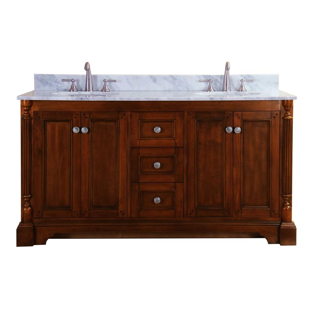 Virtu USA Megan 61 in. Double Basin Vanity in Antique Oak with Marble Vanity Top in Italian Cararra White-DISCONTINUED