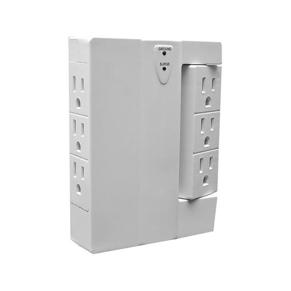 6-Outlet Swivel Wall Tap with 1,000-Joules Surge