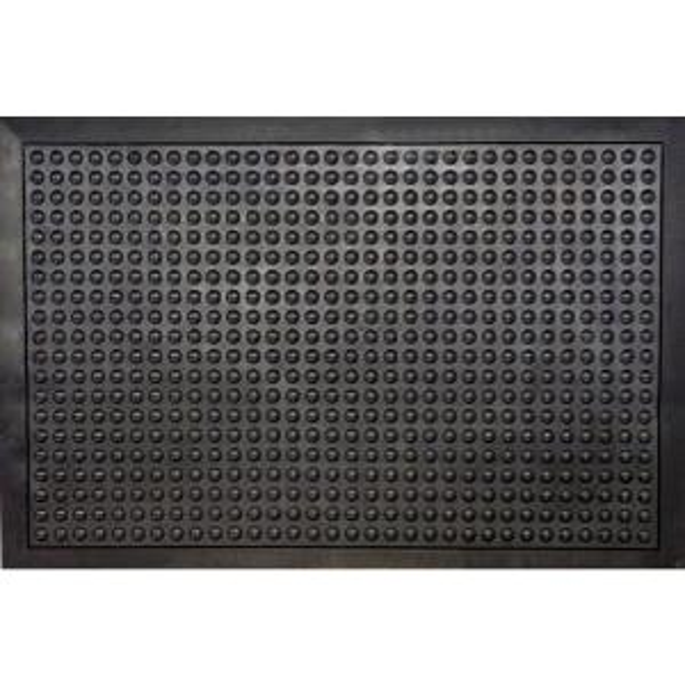 Black Durable Bubble Surface Anti-Fatigue Scraper 36 inch x 24 inch Rubber Floor Mat by