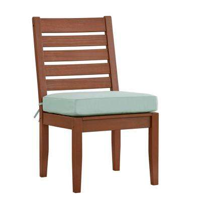 Verdon Gorge Brown Wood Outdoor Dining Chair with Blue Cushion (2-Pack)