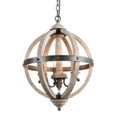 Navejo 3-Light Weathered Gray Orb Wood Chandelier