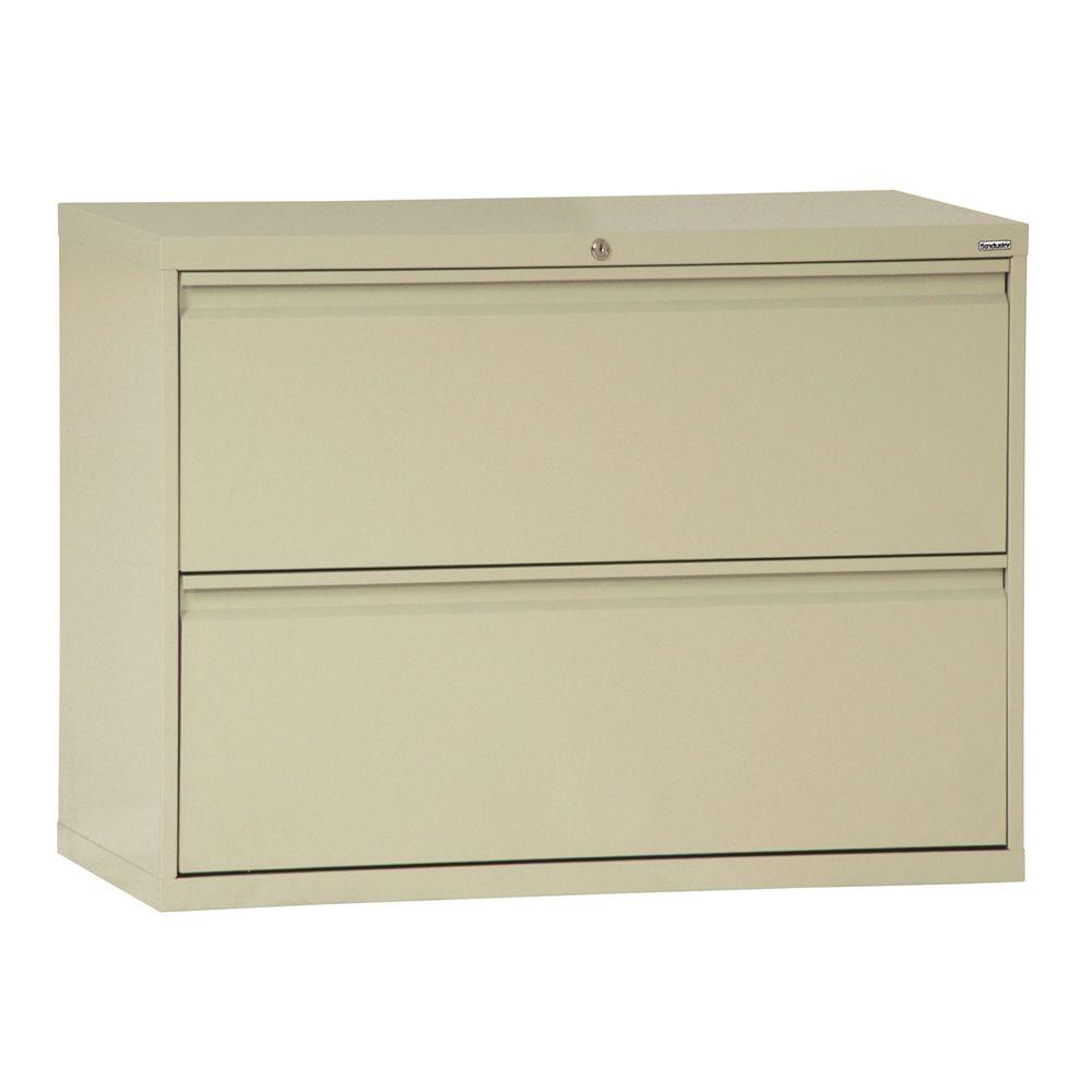 Sandusky 800 Series 42 in. W 2-Drawer Full Pull Lateral File Cabinet in Putty
