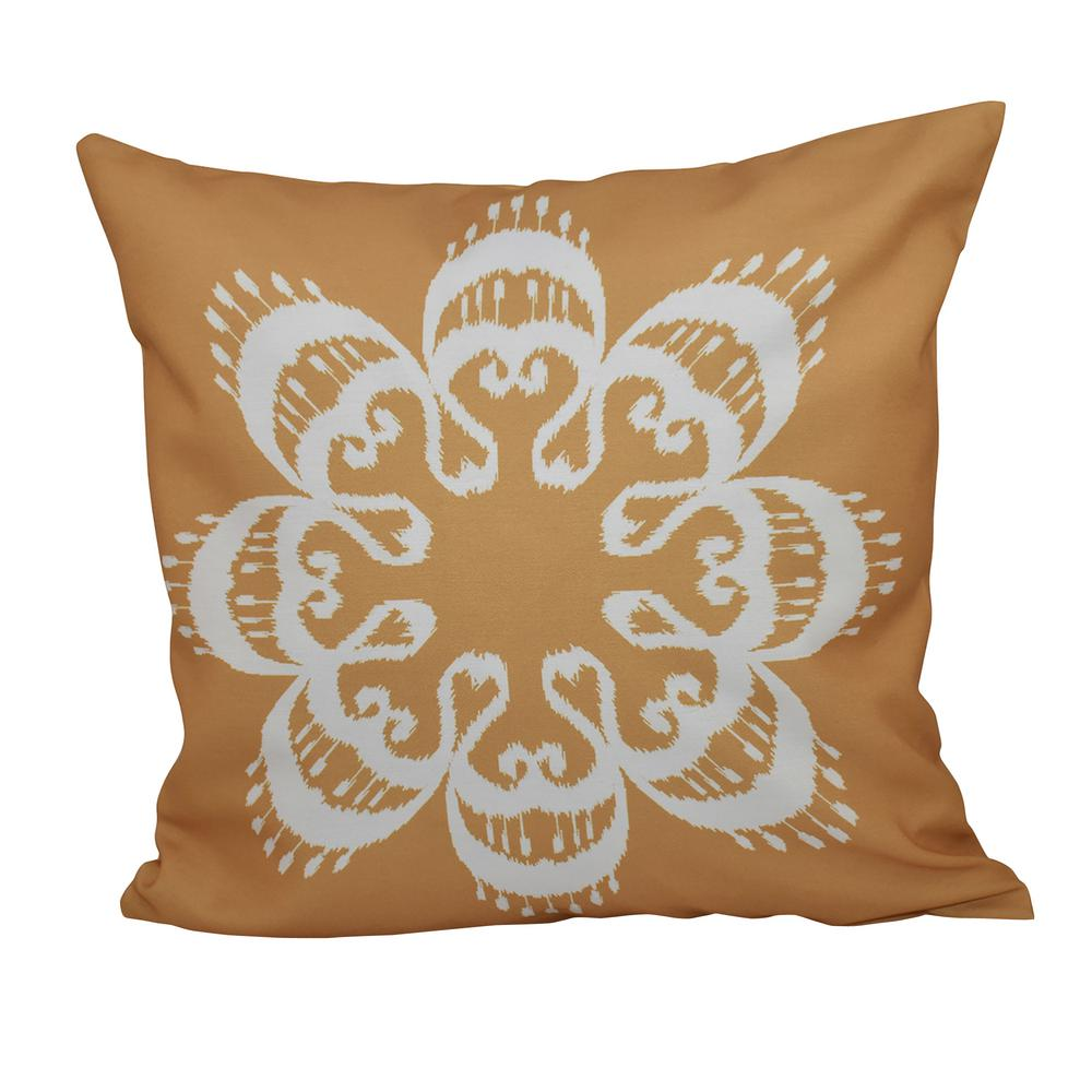 16 in. x 16 in. Gold Ikat Mandala Geometric Print Pillow