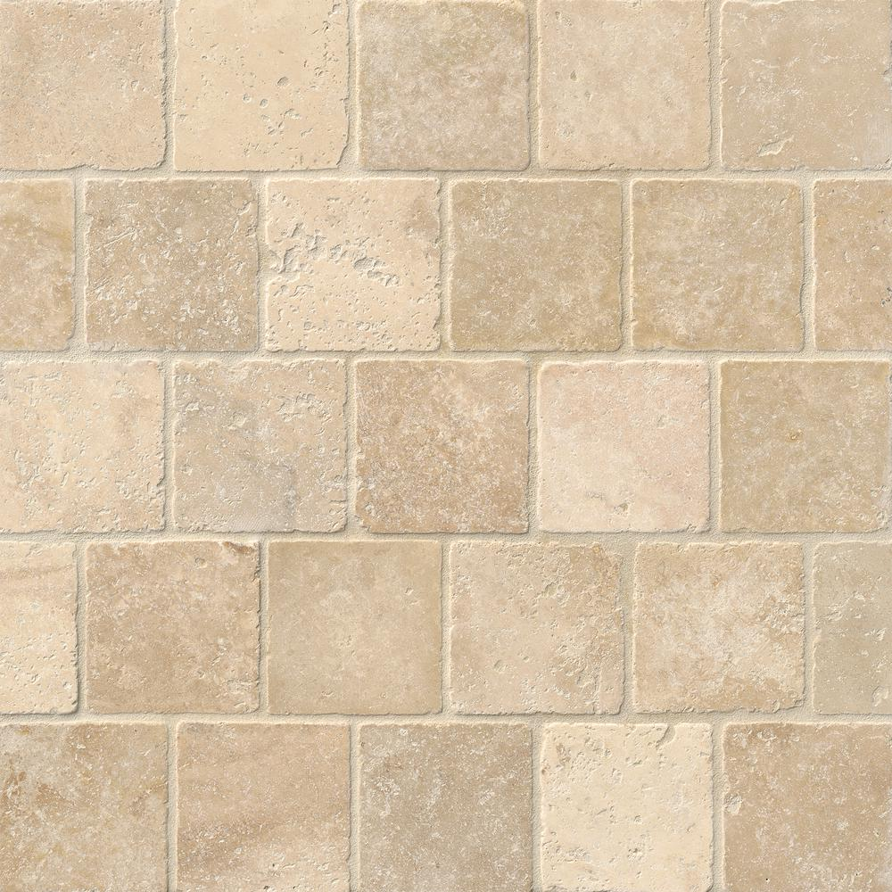 - MSI Chiaro 4 In. X 4 In. Textured Travertine Floor And Wall Tile