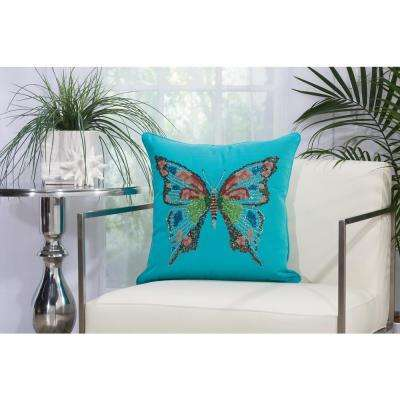 Beaded Butterfly 18 in. x 18 in. Turquoise Indoor and Outdoor Pillow