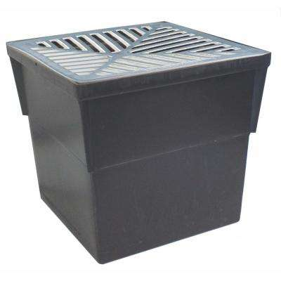 14 in. x 14 in. Storm Water Pit and Catch Basin for Modular Trench and Channel Drain Systems w/ Aluminum Grate