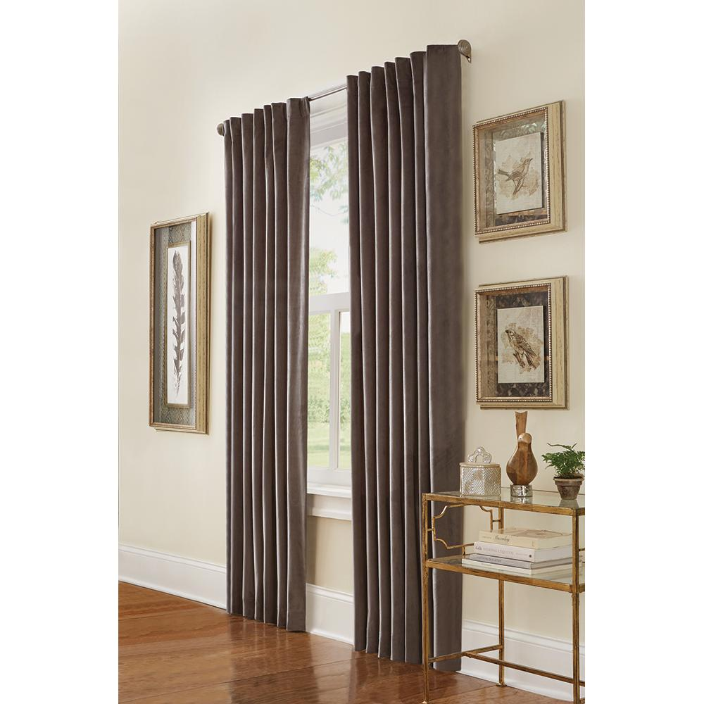Semi-Opaque HDC Velvet Lined Back Tab Curtain Grey - 50 in.