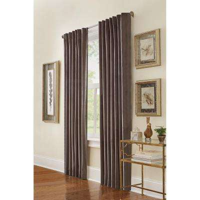 Semi-Opaque HDC Velvet Lined Back Tab Curtain Grey - 50 in. x 84 in. L (1-Panel)