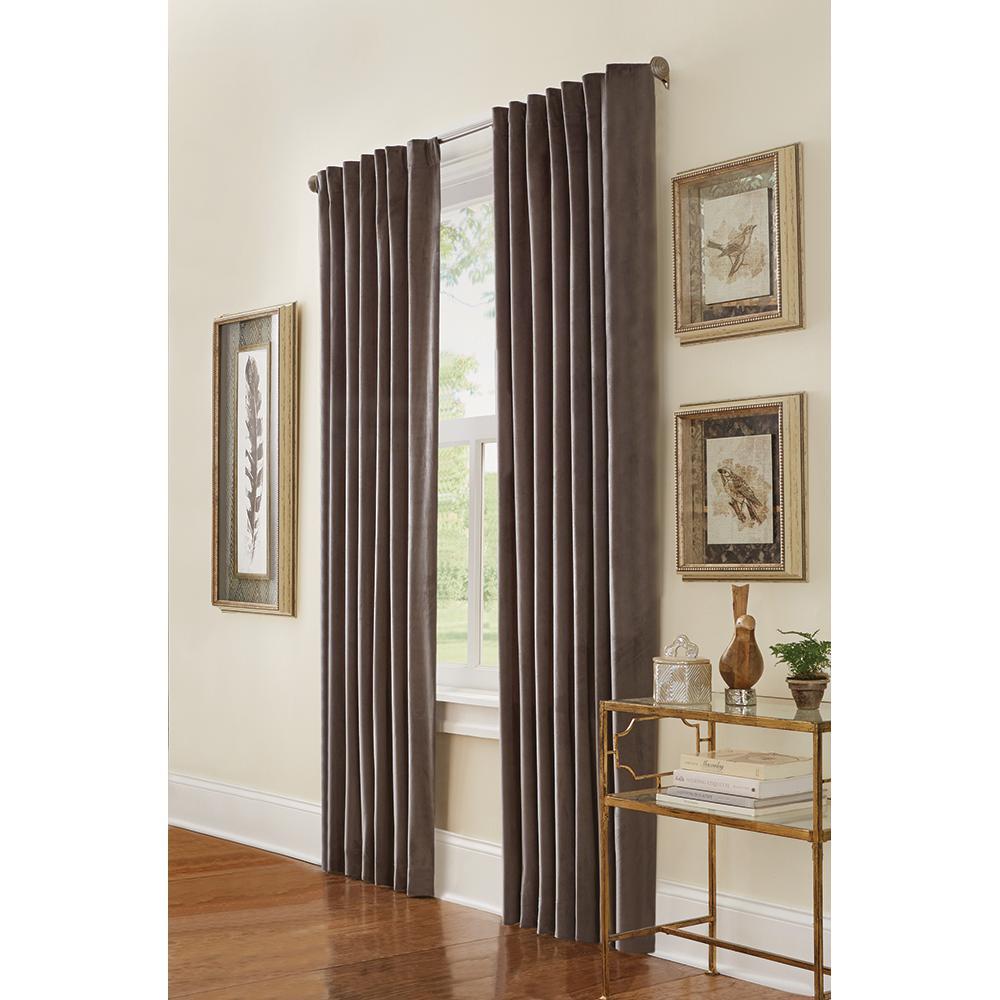 Velvet Lined Room Darkening Window Panel in Grey - 50 in. W x 84 in. L