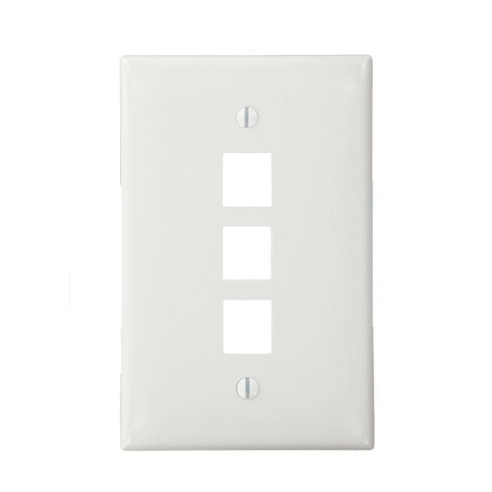 3-Port QuickPort Midsize Plate, White (25-Pack)