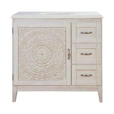 Chennai 37 in. W Single Vanity in White Wash with Engineered Stone Vanity Top in Crystal White with White Sink