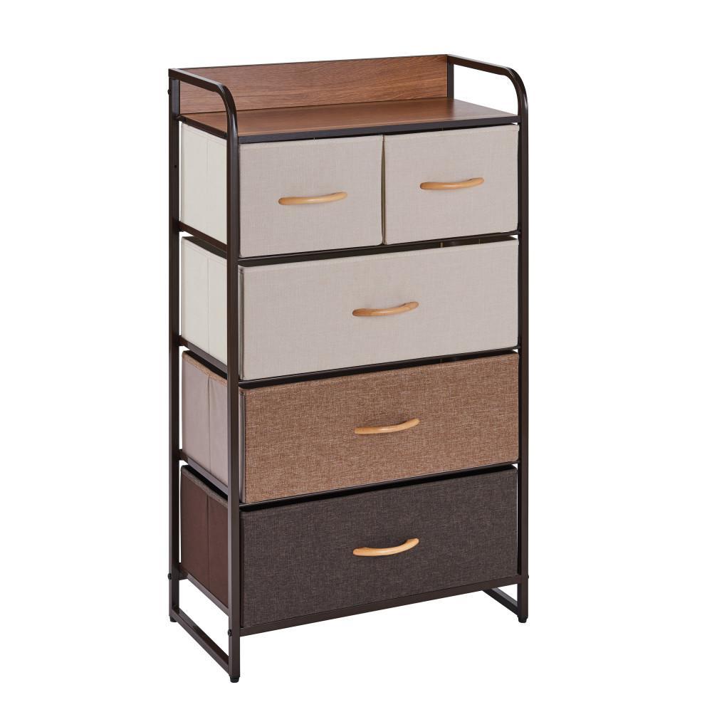 Ciana Brown Shades 5 Drawer Wide Modern Dresser