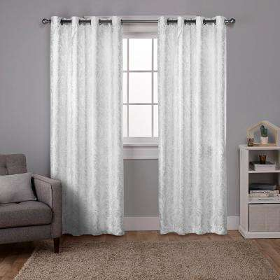 Watford 52 in. W x 96 in. L Woven Blackout Grommet Top Curtain Panel in Winter White, Silver (2 Panels)