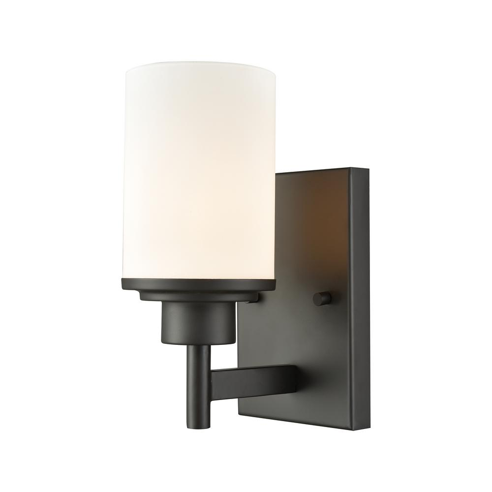 Thomas lighting lighting the home depot belmar 1 light oil rubbed bronze with opal white glass bath light arubaitofo Image collections