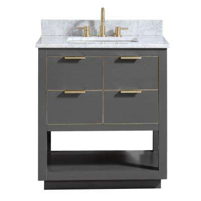 Allie 31 in. W x 22 in. D Bath Vanity in Gray with Gold Trim with Marble Vanity Top in Carrara White with Basin