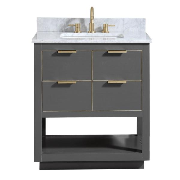 Avanity Allie 31 in. W x 22 in. D Bath Vanity in Gray with Gold Trim with Marble Vanity Top in Carrara White with Basin
