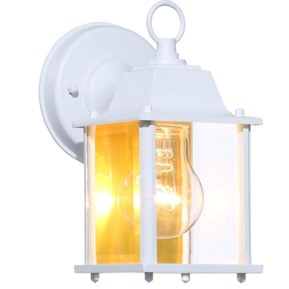 Hampton Bay 1 Light White Outdoor Wall Lantern Bpm1691 Wht