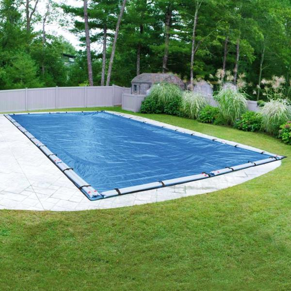 Pool Mate Econo Mesh 20 Ft X 45 Ft Rectangular Blue Mesh In Ground Winter Pool Cover 542045r The Home Depot