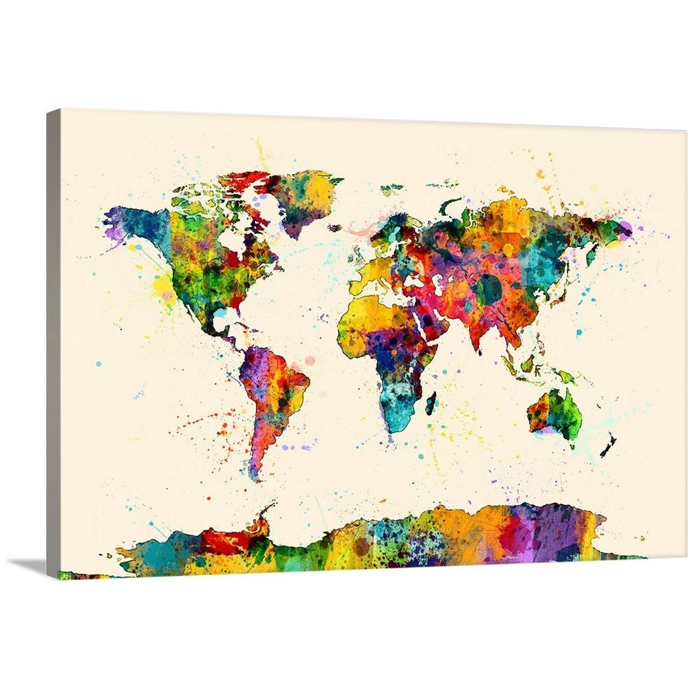 Greatbigcanvas Map Of The World Map Watercolor By Michael Tompsett