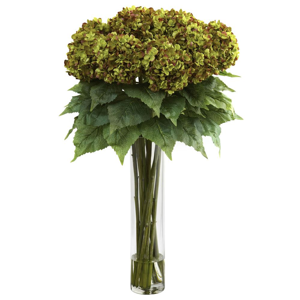 Nearly Natural Indoor Hydrangea with Cylinder Silk Flower Arrangement Nearly Natural Indoor Hydrangea with Cylinder Silk Flower Arrangement