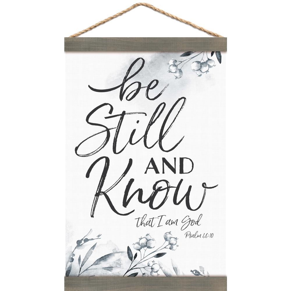 P Graham Dunn Be Still And Know Canvas Wall Banner Art with Grey Pine Wood Frame, White was $38.69 now $23.11 (40.0% off)