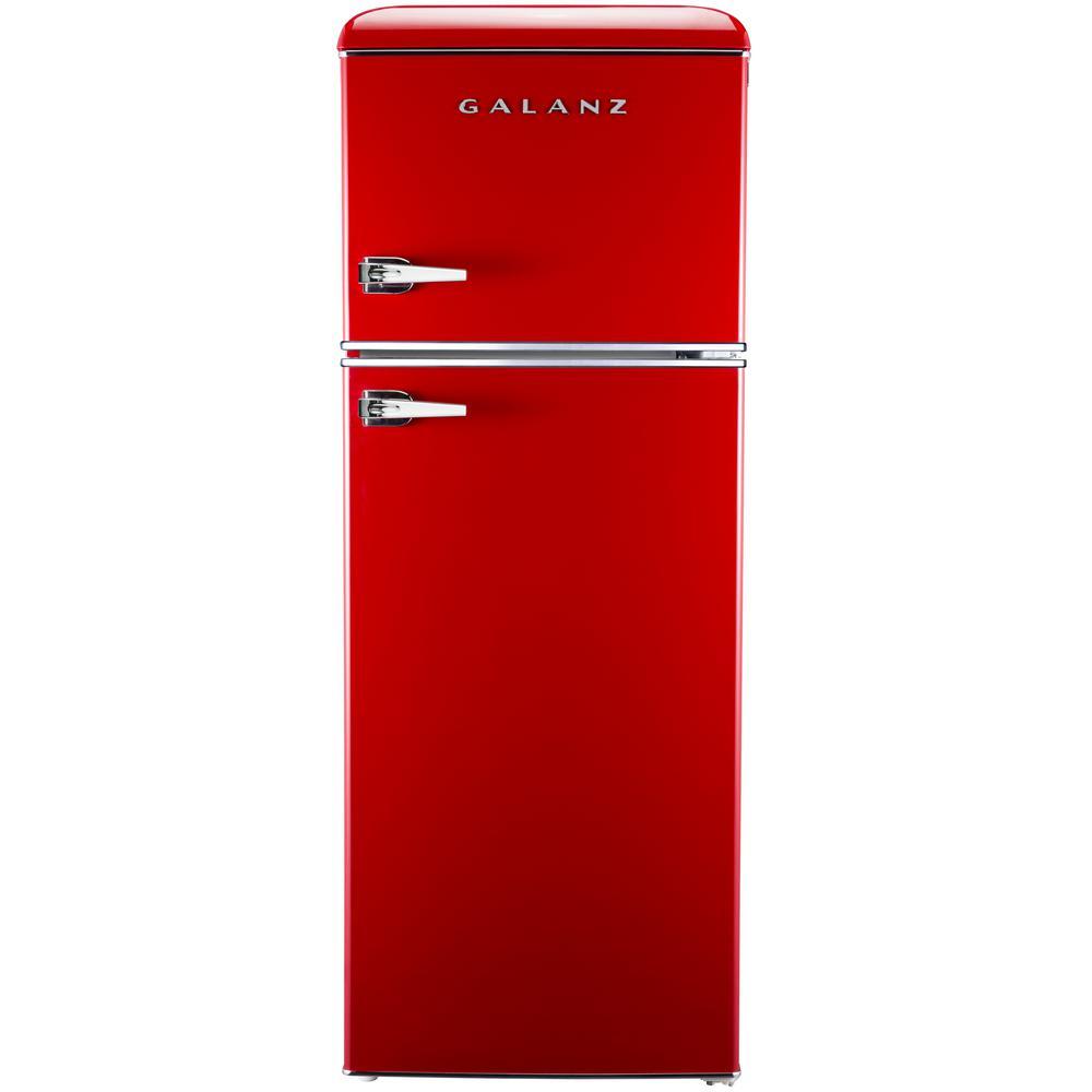 galanz 7 6 cu ft mini retro refrigerator in red bcd 215v 62h the