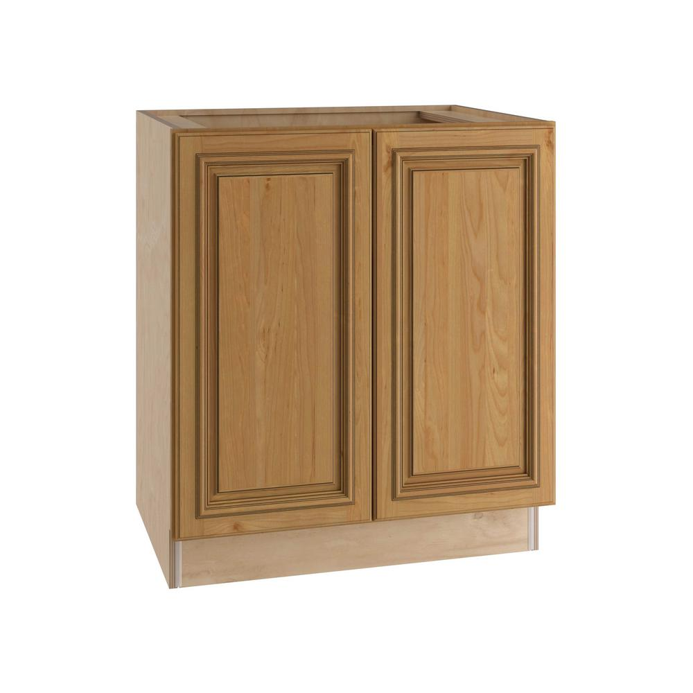 Clevedon Assembled 24x34.5x24 in. Double Door Base Kitchen Cabinet in Toffee