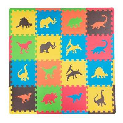 Dino Multicolor 50 in. x 50 in. Residential Mat Set