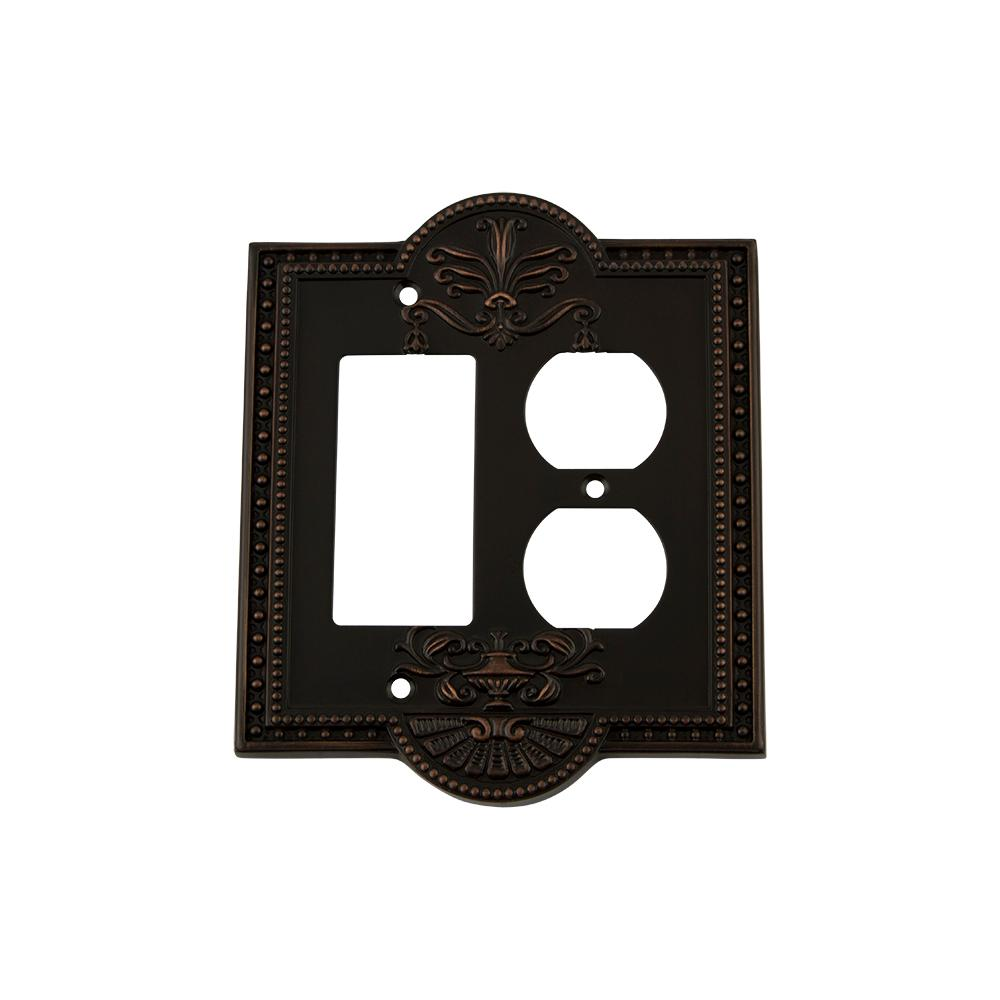 Meadows Switch Plate with Rocker and Outlet in Timeless Bronze