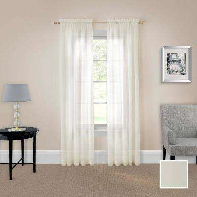 Victoria Voile Window Curtain Panel Pair in Ivory - 118 in. W x 63 in. L