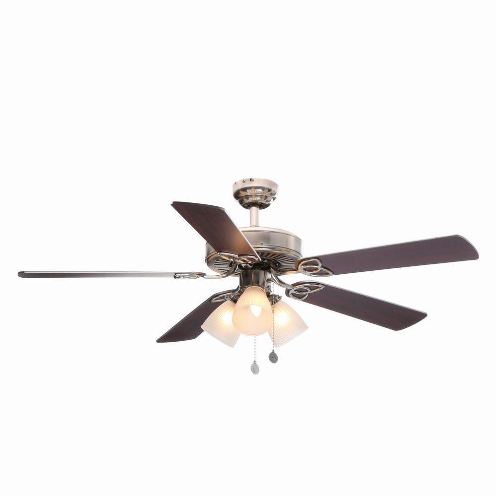 Vintage 52 in. Indoor Brushed Nickel Finish Ceiling Fan