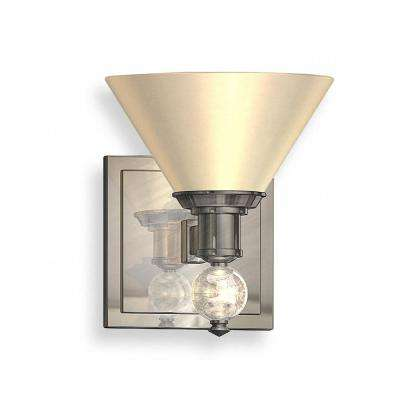 1-Light Satin Nickel Sconce with Opal Glass Shades