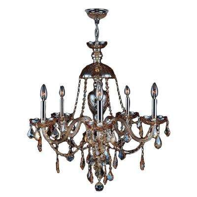 Provence Collection 5-Light Amber Crystal and Chrome Chandelier