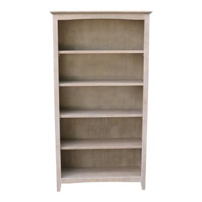 60 in. Weathered Gray Taupe Wood 5-shelf Standard Bookcase with Adjustable Shelves