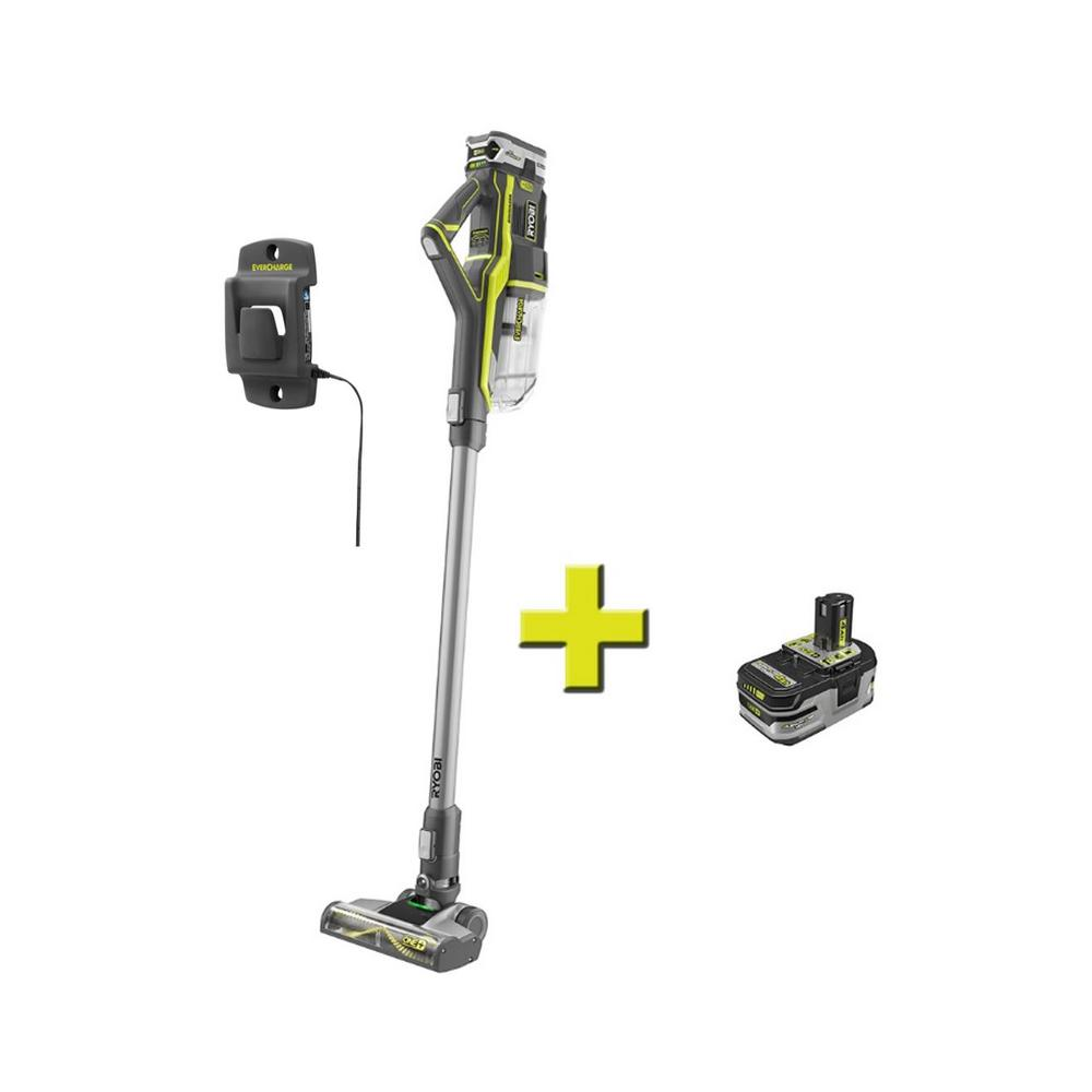 RYOBI 18-Volt ONE+ Cordless Stick Vacuum Cleaner with Extra 18-Volt ONE+ Lithium-Ion 4.0 Ah LITHIUM+ HP High Capacity Battery