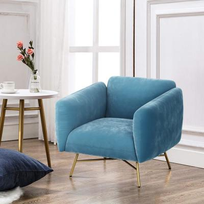 Accent Chair Velvet Fabric Fashionable Upholstered Lounge Chair Blue