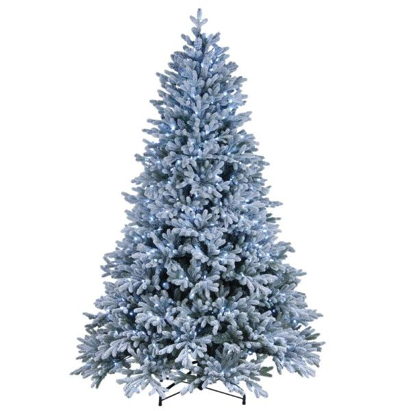 National Tree Company 7.5 ft. Feel Real Snowy Hamilton Spruce Hinged Tree with 750 Cool White LED Lights Plus PowerConnect