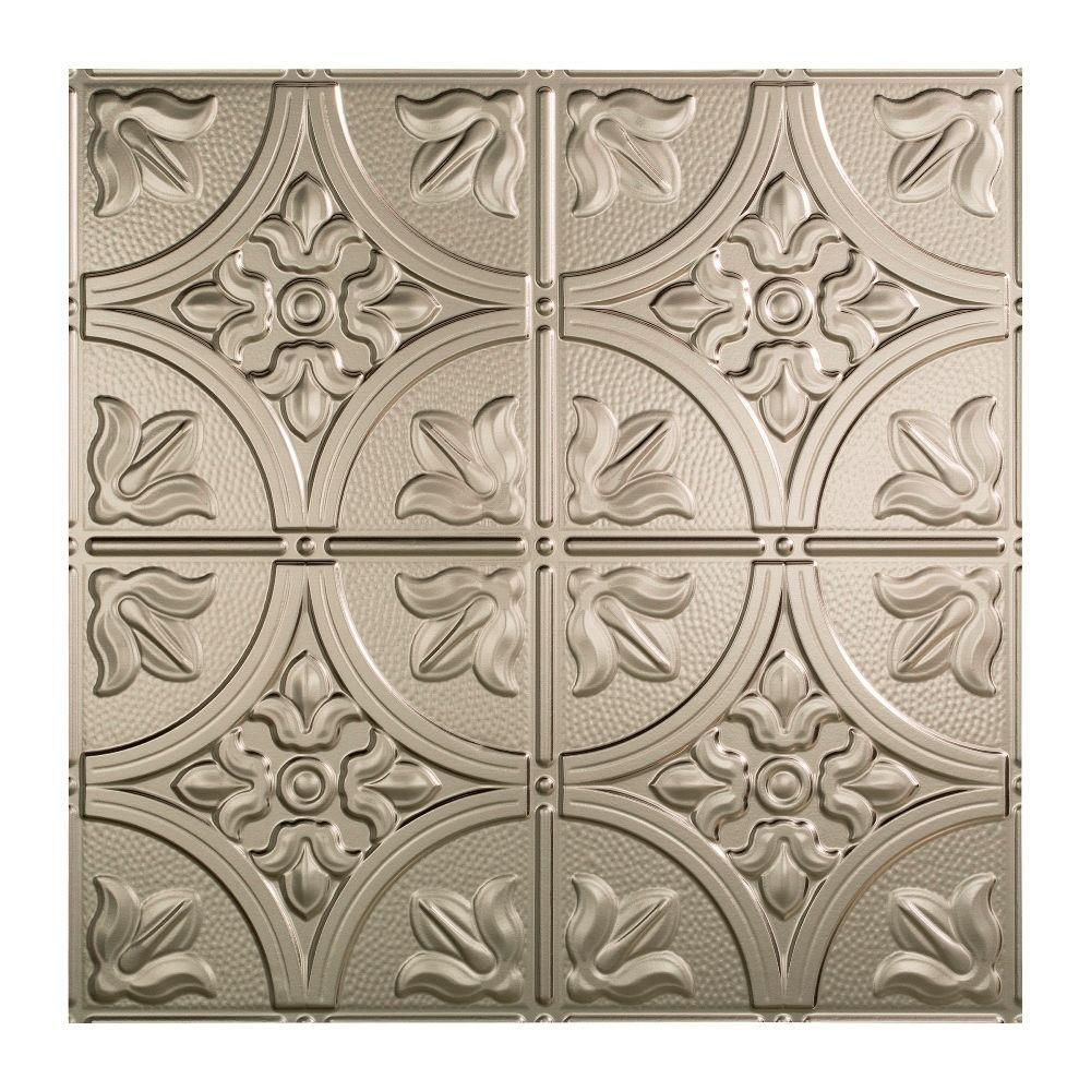 Fasade Traditional 2 - 2 ft. x 2 ft. Lay-in Ceiling Tile in Brushed Nickel