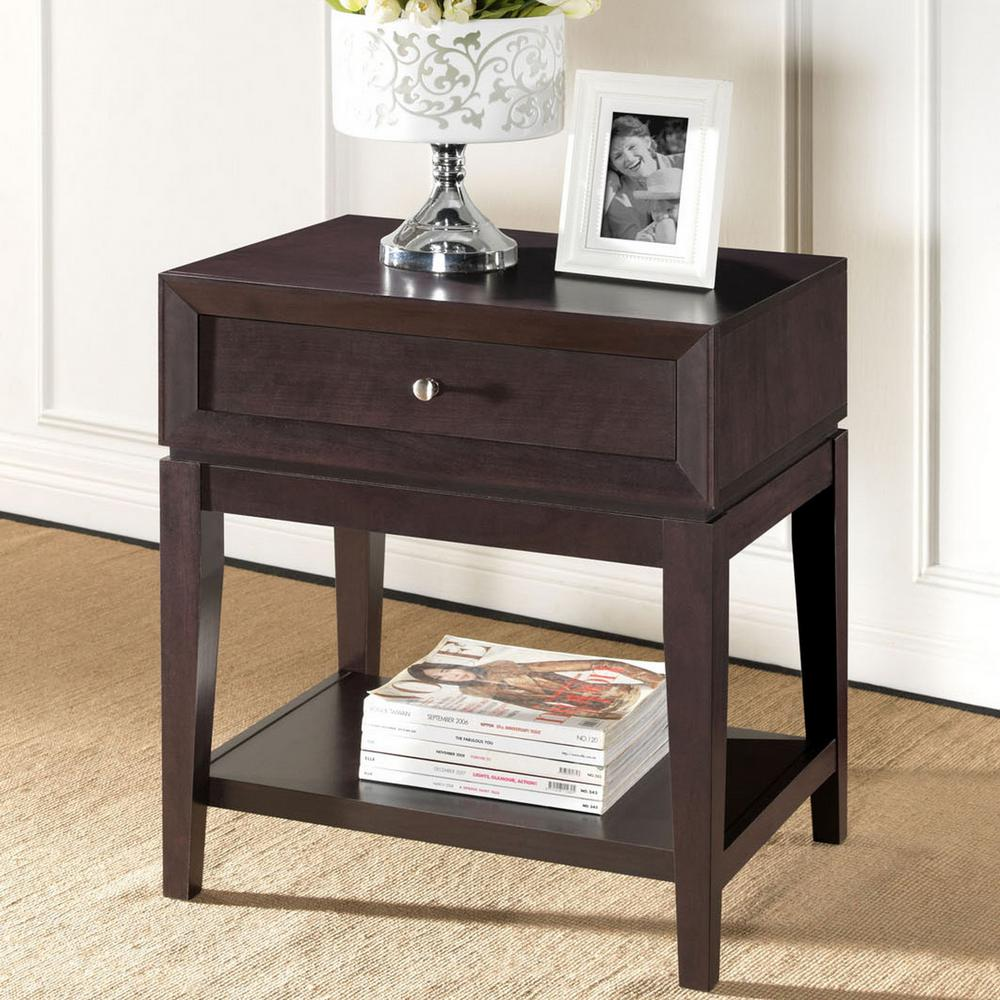 Baxton studio harlow 1 drawer white and medium brown wood for Black wood nightstand