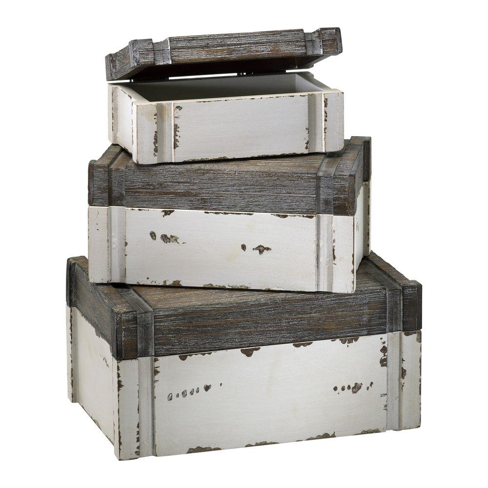 Filament Design Prospect 5 in. x 10.5 in. Distressed White and Gray Boxes (Set of 3)
