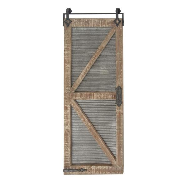25 in. x 67 in. Corrugated Gray and Brown Barn Door Wooden Wall Art