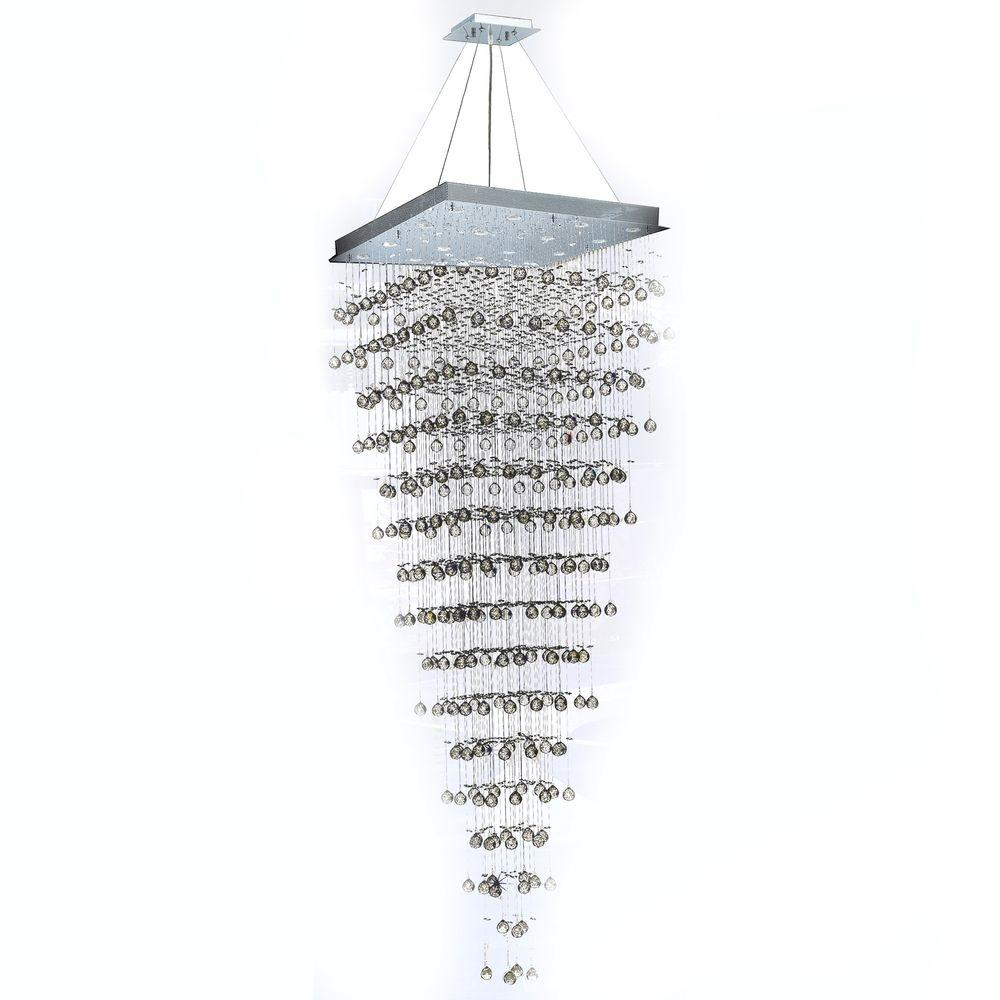 Worldwide Lighting Icicle Collection 96 in. 16-Light Chrome and Clear Crystal Chandelier