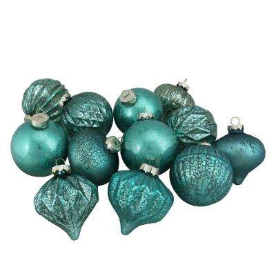 3.25 in. (80 mm) 12-Piece Green Assorted Distressed Finish Glass Ornament Set