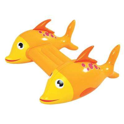 Adventurous Fish Inflatable Pool Kickboard - Orange Novelty Water Float for Fun Water Play