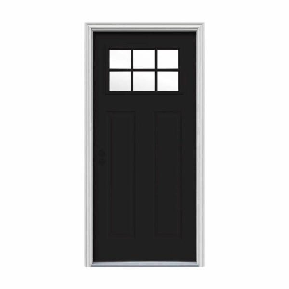 30 in. x 80 in. 6 Lite Craftsman Black Painted Steel Prehung Right-Hand Inswing Front Door w/Brickmould