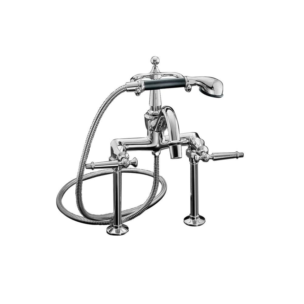 KOHLER Antique 8 in. 2-Handle Claw Foot Tub Faucet with Handshower in Polished Chrome