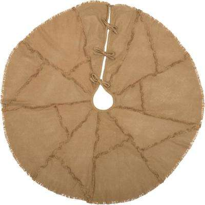 48 in. Burlap Natural Tan Farmhouse Christmas Decor Reverse Seam Tree Skirt