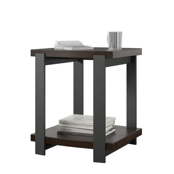End Table Set of 2 Espresso Black Pair Bedroom Night Stand With Storage Shelf